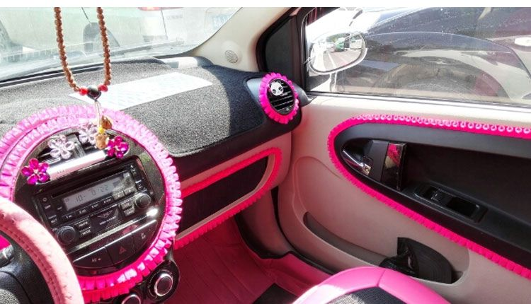 Car DIY Ruffle Lace Fringe For Interior Decorations   Hot Pink Decal