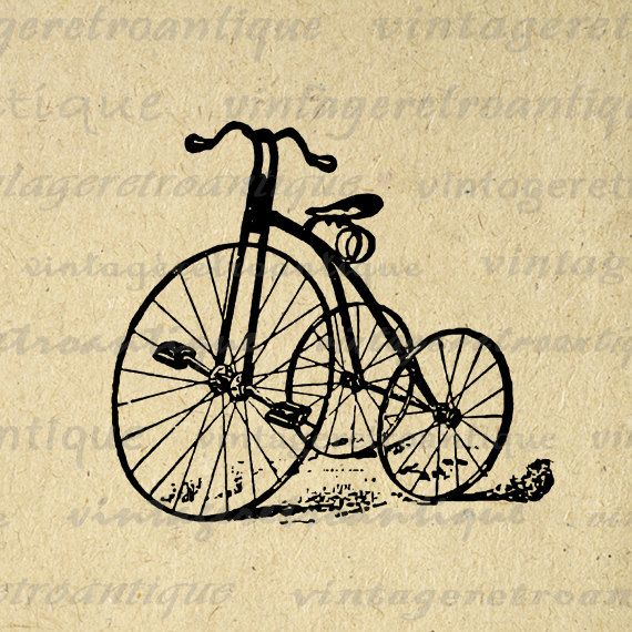 Tricycle Wheel Clip Art : Antique tricycle printable graphic download bicycle