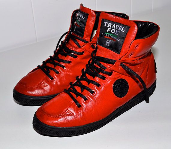 a3c159359efb TRAVEL FOX Vintage Red Leather Low Profile European High Top ...