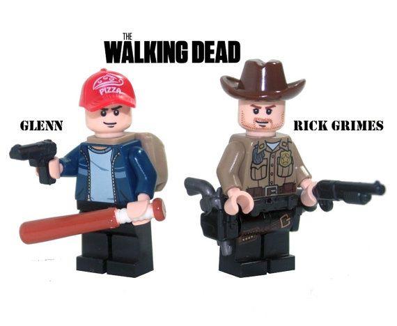 8b38632c714 Custom Lego Walking Dead RICK GRIMES and GLENN Minifigure Set