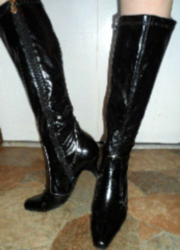 SZ8M FASHIONABLE DESIGNER BLACK OVER CALF AETIENNE AIGNER TRENDY BOOTS MODERN #GAetienneAigner #FashionMidCalf