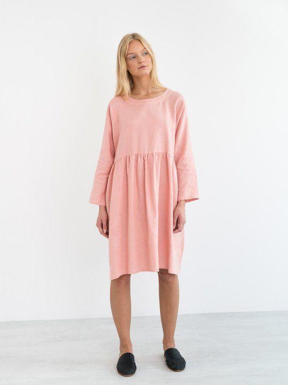 cb21130fe95 HARLOW Linen Dress   Long Sleeve Loose Midi Linen Dress in 2019 ...