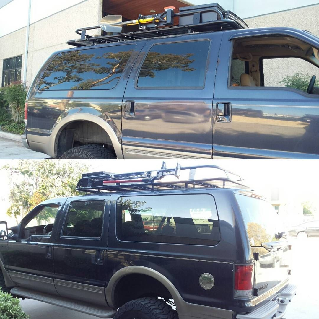 Great Aluminess Roof Rack For Ford Excursion With Custom Box, Expedition Kit And  Light Bar