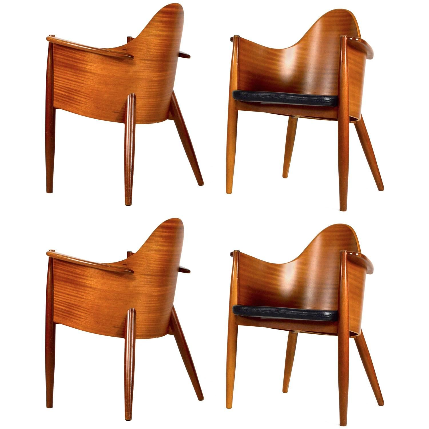 Very Rare Set Of 4 Scandinavian Teak Plywood Leather Side Chairs