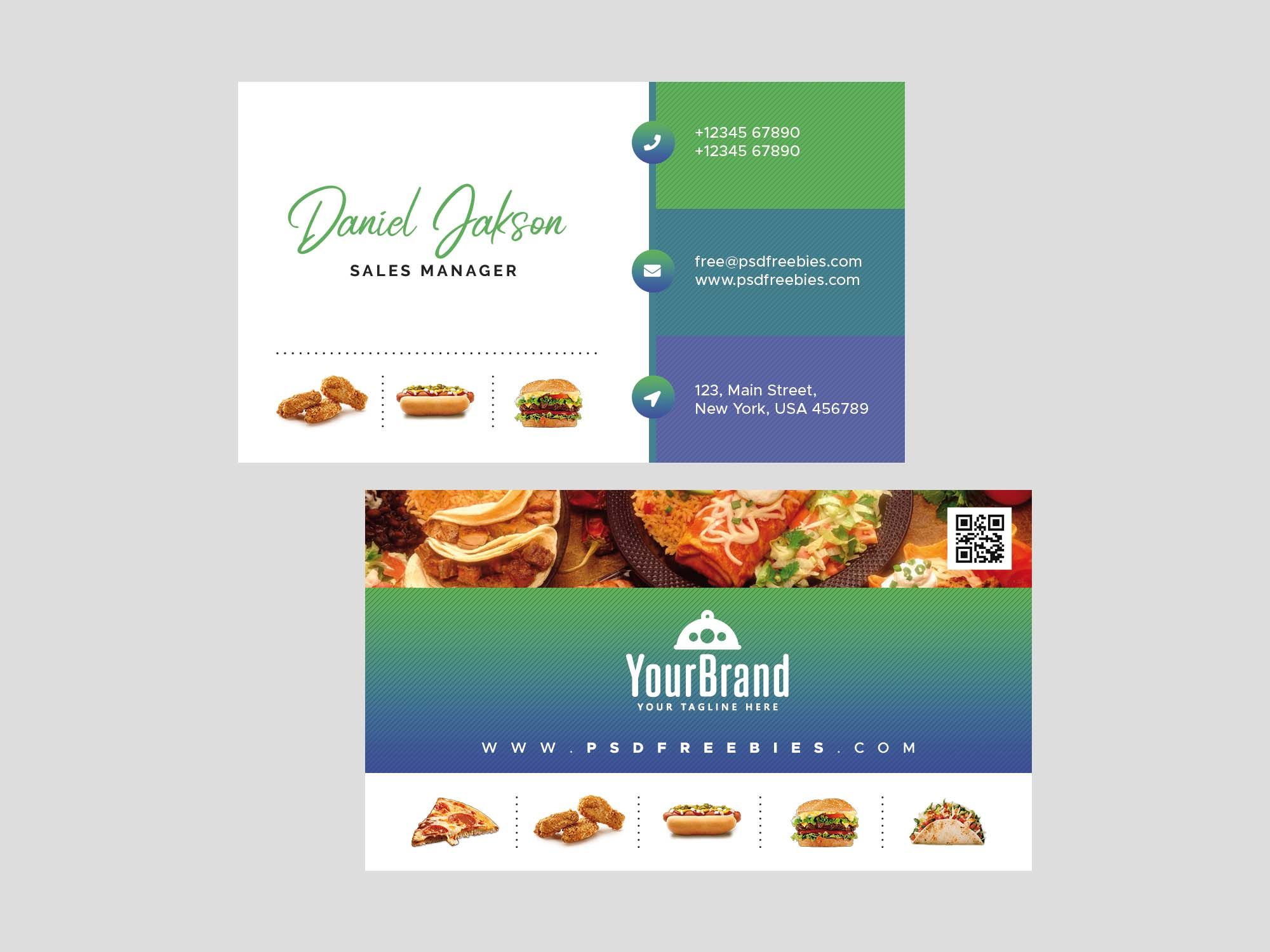 Free Restaurant Business Card Template Psd With Restaurant Business Cards Template Free Business Card Templates Card Templates Free Restaurant Business Cards