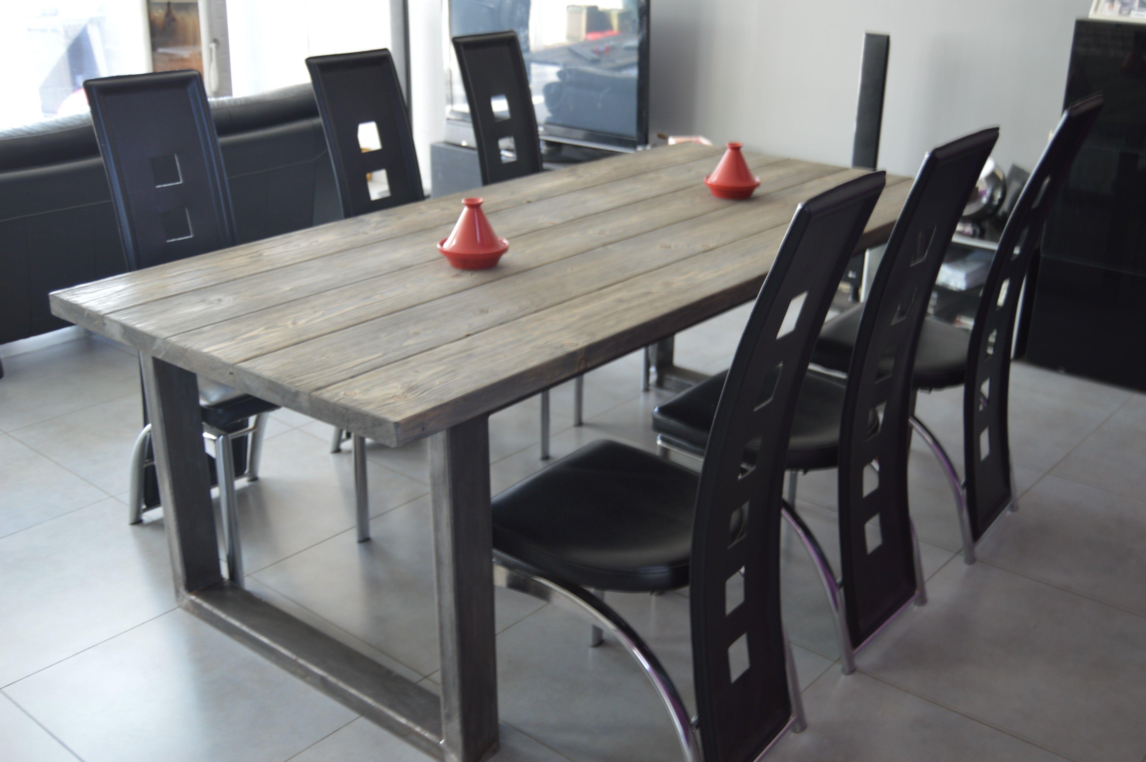 table de salle manger style industriel acier et bois cuisine pinterest style industriel. Black Bedroom Furniture Sets. Home Design Ideas