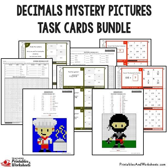 Decimals Mystery Pictures Task Cards With Coloring