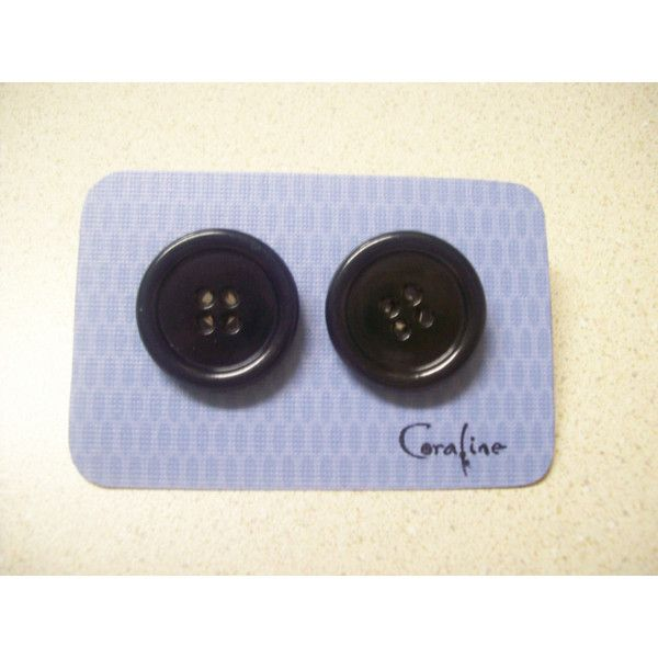 Coraline Black Button Earrings 6 Liked On Polyvore Featuring Jewelry Earrings Vintage Earrings Vintage Je Black Button Button Earrings Vintage Earrings