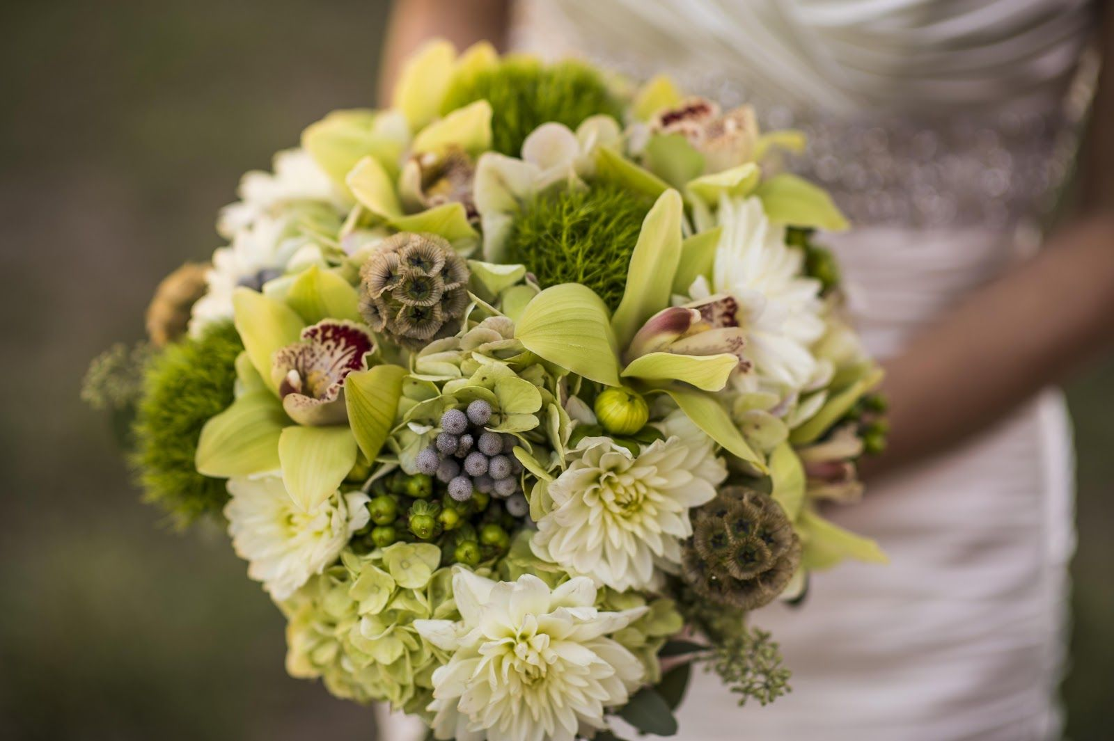 cymbidium orchids, dahlias, hydrangea, silver brunia berries, hypericum berries, scabiosa pods, green trick, and more