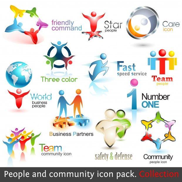 Iconos 3d Los hombres de negocio negocios de la comunidad. Vector de Elementos de Diseño