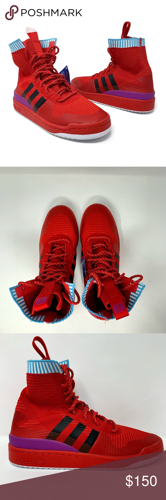 Adidas Forum Winter Pk Men S Basketball Shoes Red High Tops Basketball Shoes Red Adidas [ 1740 x 580 Pixel ]