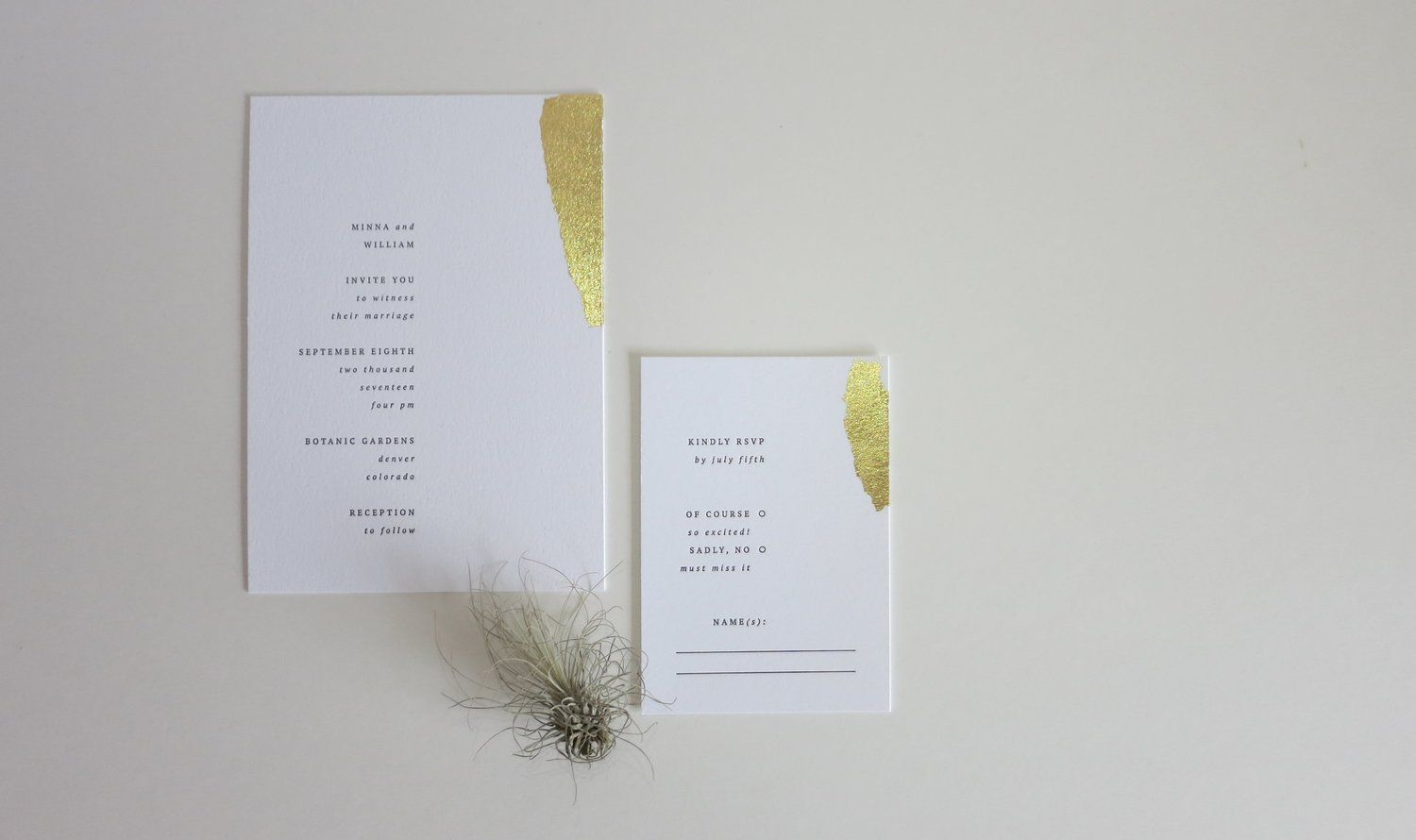 Minimal letterpress wedding invitation with gold leaf. BRYLOwed.com ...