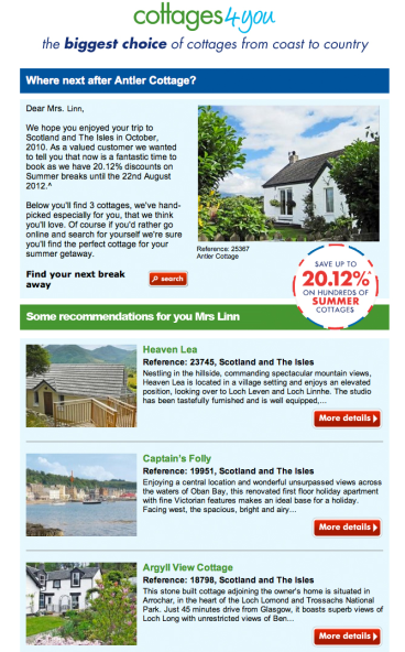 Elegant Personalised Email From Cottages 4 You