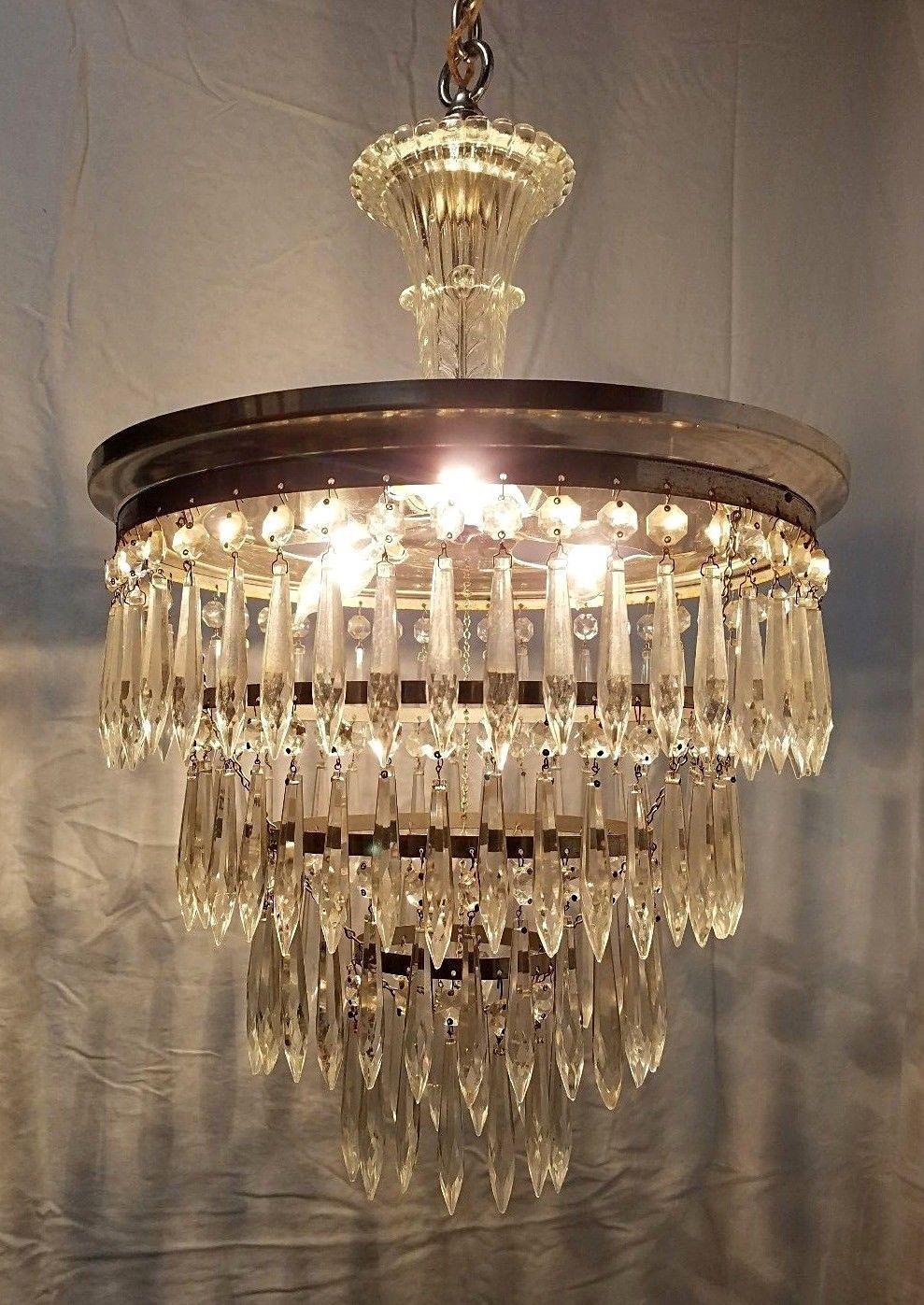Vintage Wedding Cake 4 Tier Chandelier 131 Crystal Prisms Art Deco