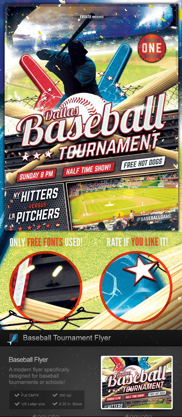 Baseball Tournament Flyer Template  Flyer Template Template And
