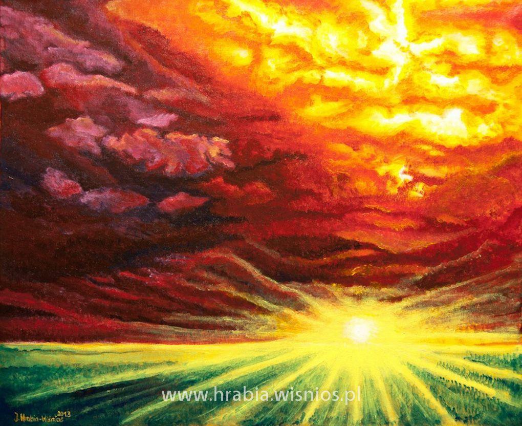 Pejzaż Zachód słońca J. Hrabia Wiśnios