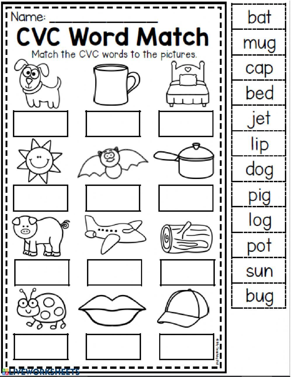 Cvc Phonics Worksheets For Kindergarten