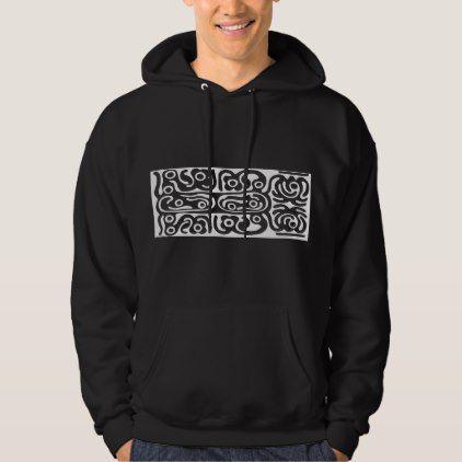 93dbe7c4df2949 Tribal Speak Art White Pattern Hieroglyphs Hoodie - pattern sample design  template diy cyo customize