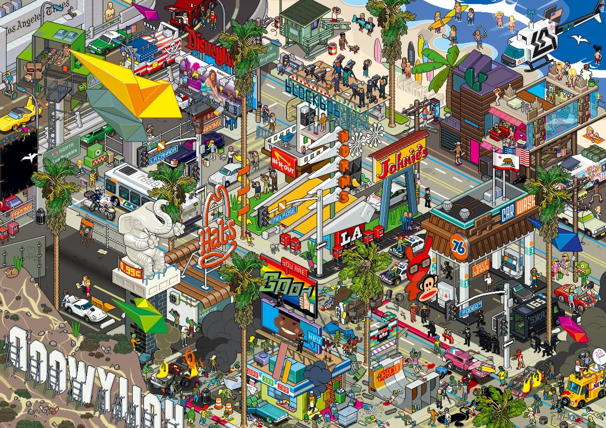 Los Angeles Pixelart Wallpaper Pixel Art Building Art City