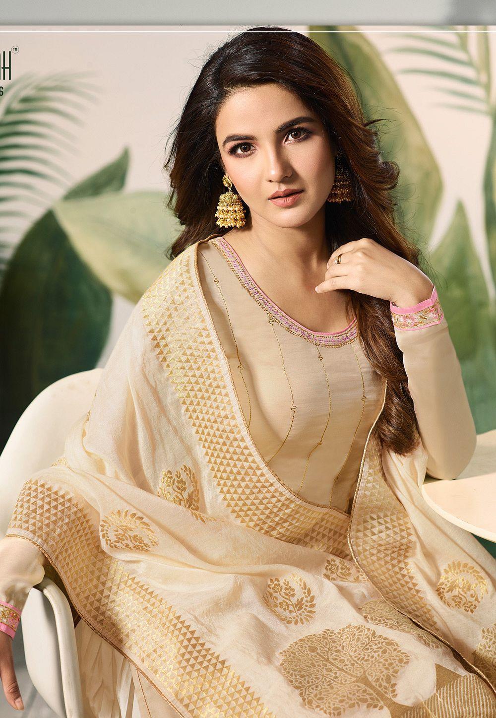 Cream satin silk sharara style pakistani suit 12006 in 2020 | Palazzo suit, Cream color dress ...