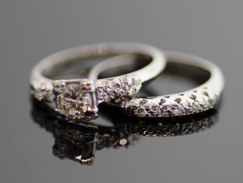 Vintage Engagement Ring Vintage 1940s Platinum Diamond