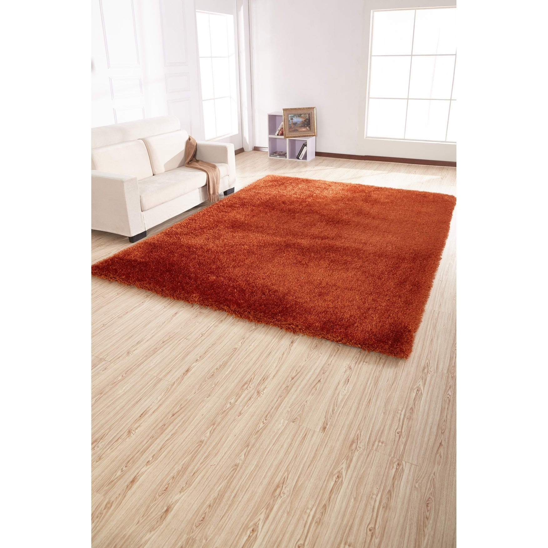 2 Inch Thickness Pile Hand Tufted Solid Orange Shag Area Rug