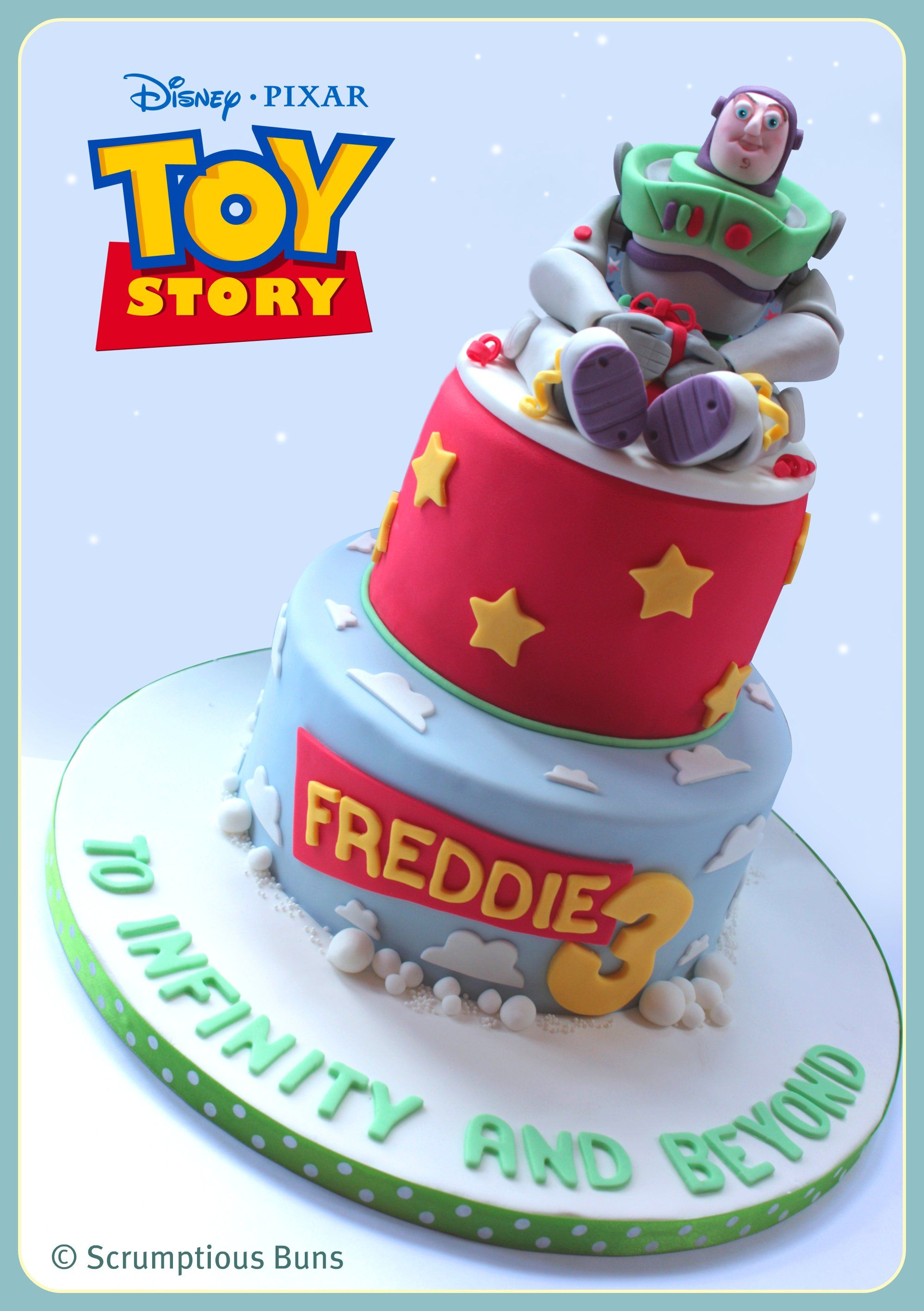 Buzz Lightyear - Chocolate Mud 8 bottom tier, Madagascan vanilla sponge 6 top layer with sugarpaste Buzz Lightyear sitting on the top!
