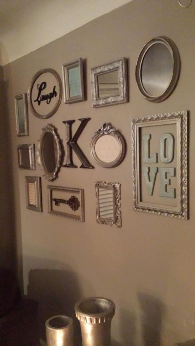 Picture frame collage wall use cute from secret santa party also pin by catherine helle on home is where the heart pinterest rh