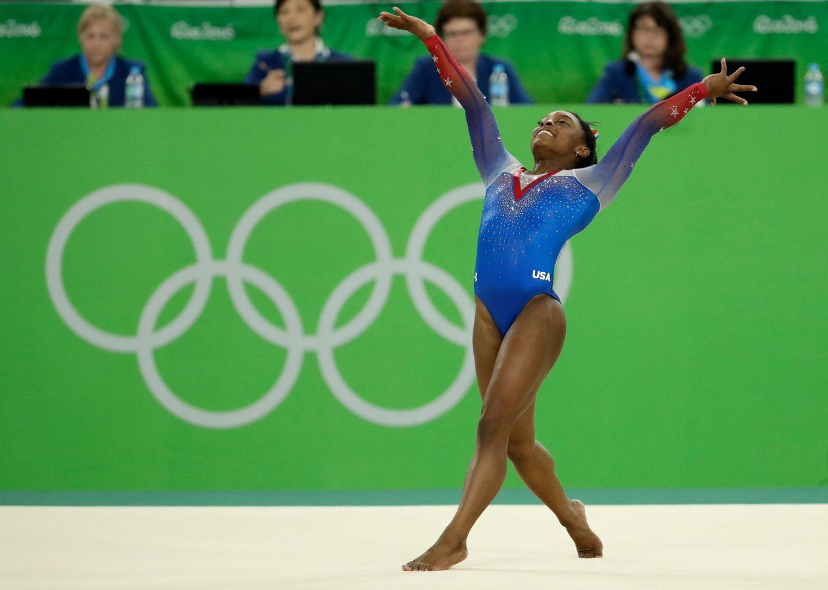 Floor Exercise: GOLD for USA's Simone Biles...HISTORY.  Simone Biles becomes the first American woman to win 4 gymnastics golds at a single Olympics. via espnW. 4/16/16