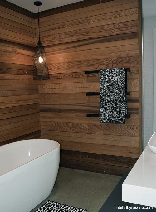 Bryce And Olivia Switch Up The Industrial Look Cedar Walls Guest Bathroom Design Half Bathroom Decor