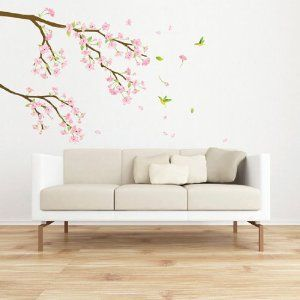 Decowall, DK 0067, Cherry Blossoms Wall Stickers, Home Art Decoration Wall