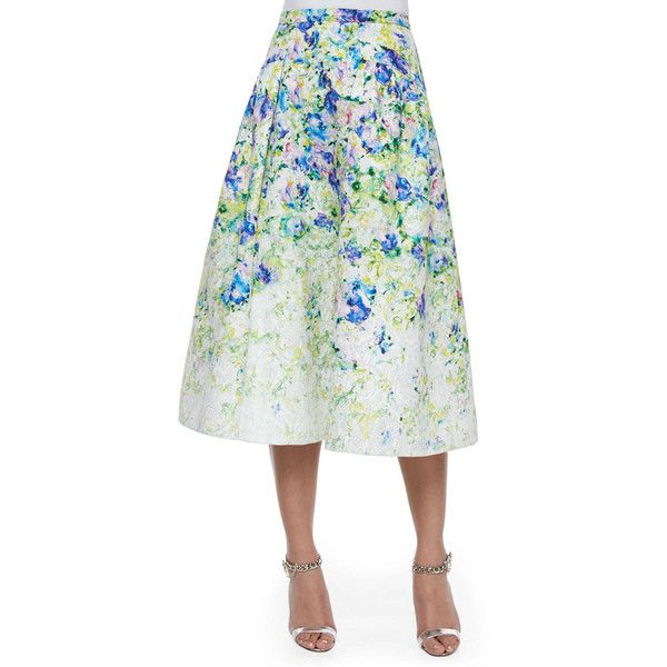 Phoebe Floral-Print A-line Midi Skirt (552 AUD) ❤ liked on Polyvore featuring skirts, green multi, white knee length skirt, white pleated skirt, full skirt, a line skirt and pleated skirt