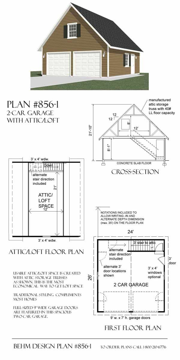 2 Car Garage Plan With Loft 856 1 24 X 26 By Behm Designs