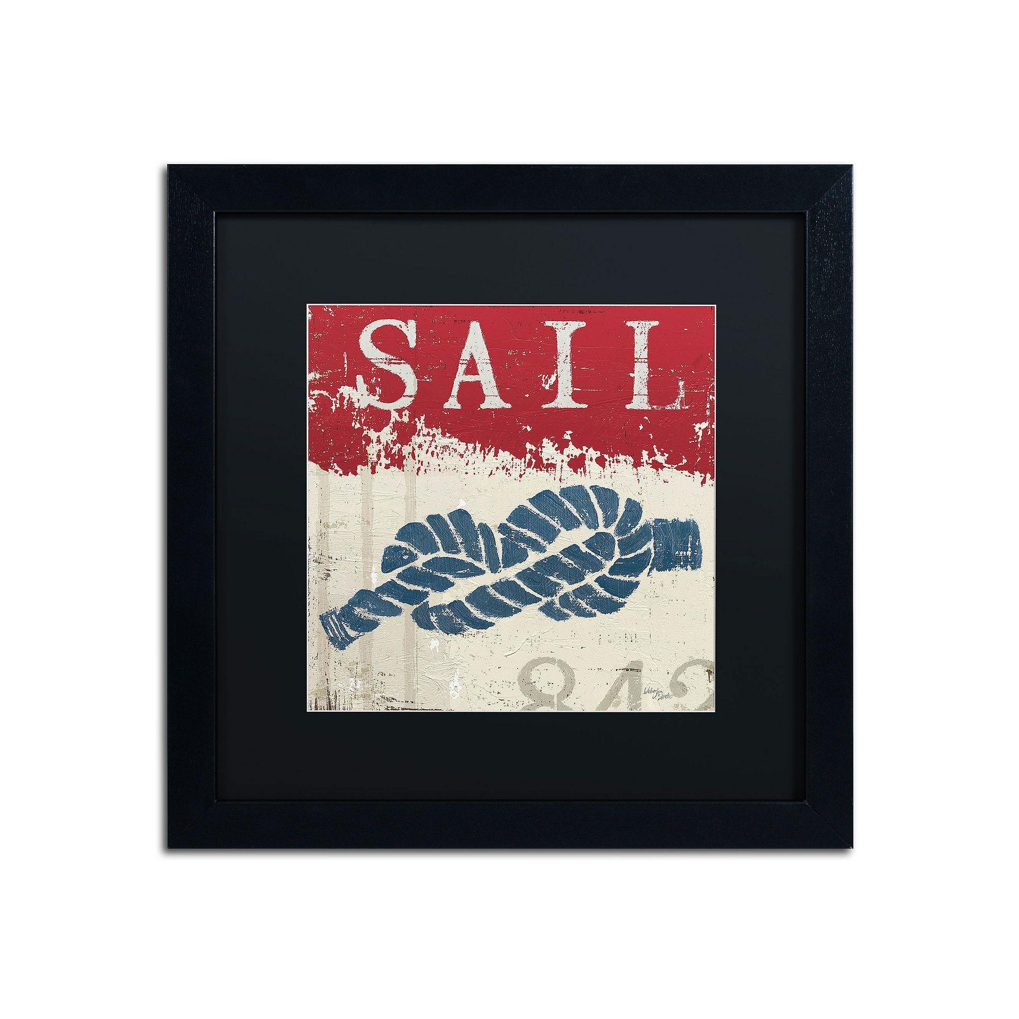 Trademark fine art wellington studio nautical iii red black framed