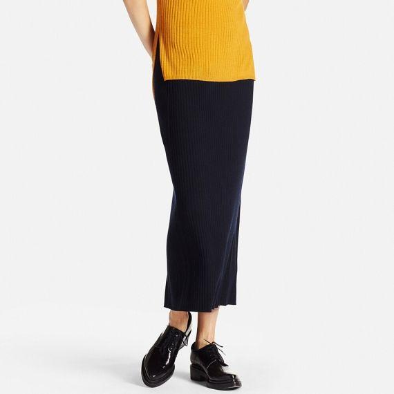 4650f72eabaf74 WOMEN Merino Blend Ribbed Skirt | UNIQLO | Personal style | Skirts ...