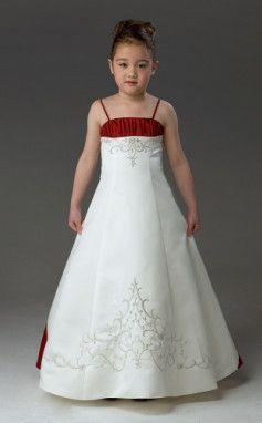1f37f6db132 Girl Dresses    White and Red Sleeveless Layer Satin Flower Girl Dress.