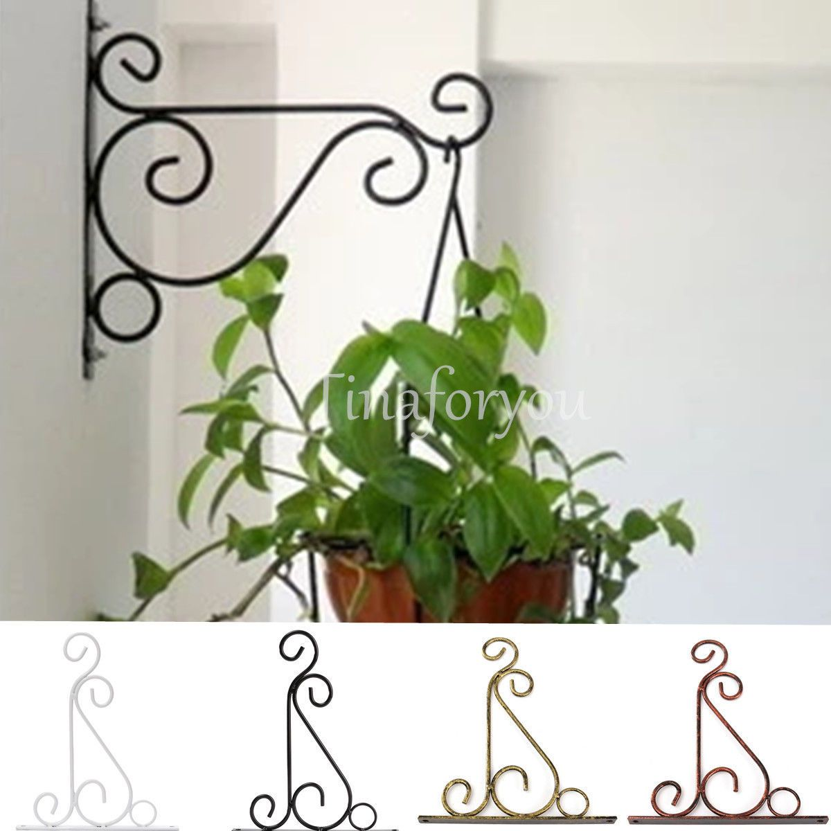 Black Scroll Cast Iron Garden Hanging Basket Wall Bracket Lantern Hanger Hook