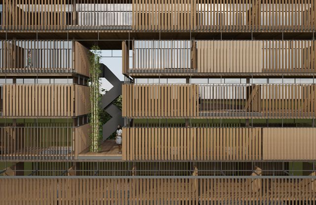 Vertical timber louvre screens