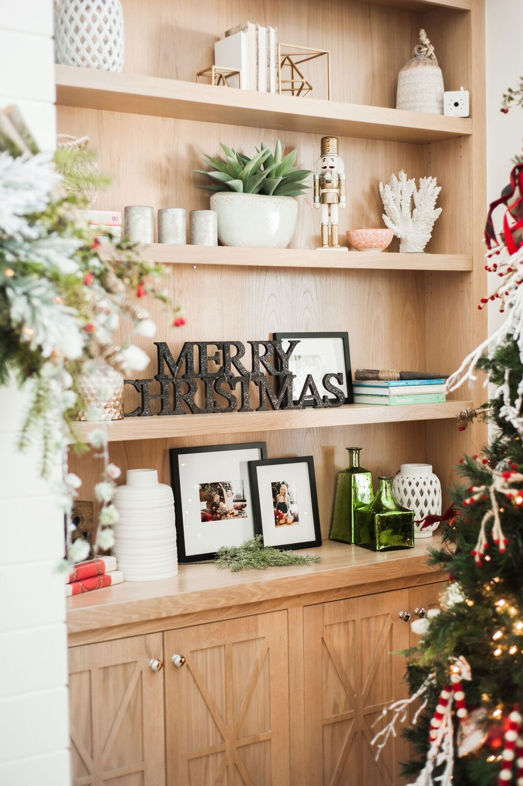 Built In Bookcase Christmas Decor How To Decorate Your Living Room For Simple And Subtle