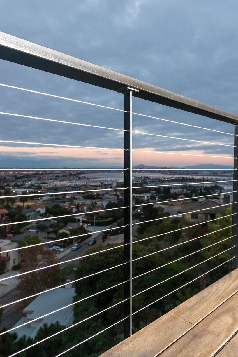 Minimalistic Railing Posts Offer The Most Invisible Railing Post Profile At Only 3 8 San Diego Cable Ra Balcony Railing Design Patio Railing Railings Outdoor