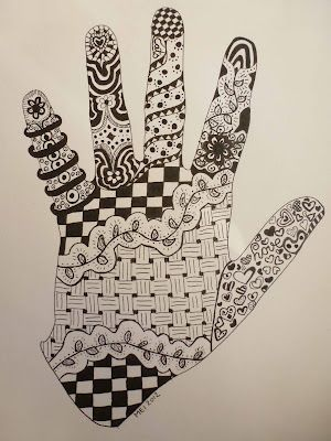 Zentangle In Your Hand Outline Cute For Kids Zentangle