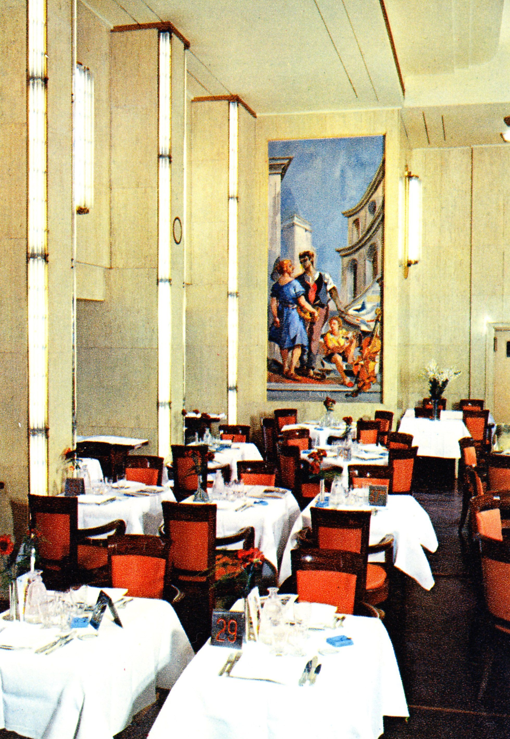 "Corner panel, one of a series entitled ""The Four Elements"", of the First Class Salle de Manger (Dining Room) of the Liberté, flagship of the Compagnie Générale Transatlantique/The French Line. 1950. Image courtesy the private collection of John Cunard-Shutter."