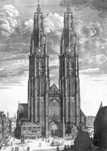 Onze-Lieve-Vrouwekathedraal (Cathédrale de Notre-Dame d'Anvers) Amberes (Bélgica). // Recreación artística de ambas torres terminadas, realizada cerca de 1800)