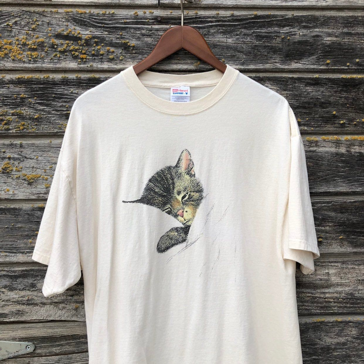 Vintage Kitten T Shirt Sleepy Cat Nap Asleep Graphic Tee Pastel Cream Beige Brown Black Tabby Kitty Sleeping Vintage Clothing For Sale Vintage Outfits Cat Nap