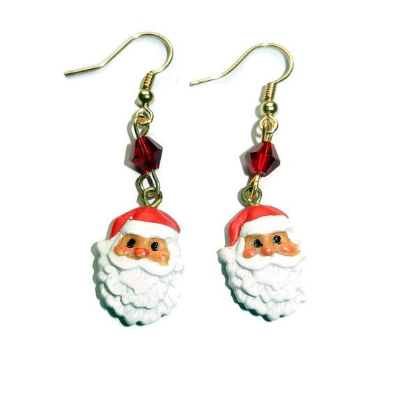 Santa Claus Dangle Earrings by CloudNineDesignz on Etsy, $8.00