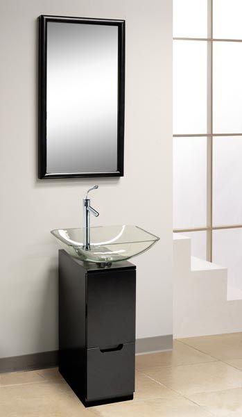pedestal sink with STORAGE! modern sink tiny vanity Small Bathroom