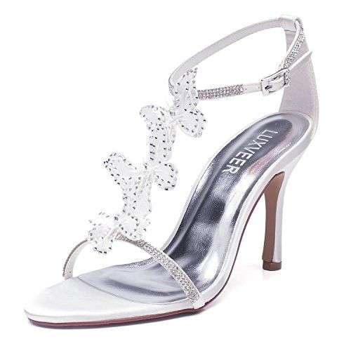 ee86cf86f52d1 LUXVEER White Wedding Sandals with Silver Rhinestone and Lace ...