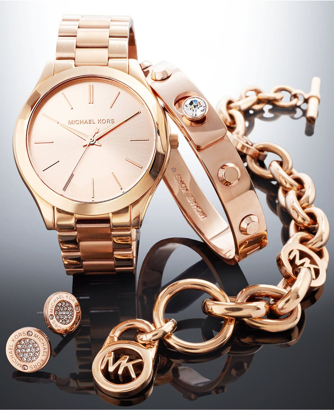 Michael Kors Rose Gold Tone Gift Set Women S Watches Jewelry Watches Macy S Michael Kors Rose Gold Women S Accessories Fashion Jewelry