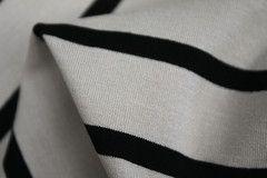 Latte Black Stripe Jersey - Jersey - Tessuti Fabrics - Online Fabric Store - Cotton, Linen, Silk, Bridal & more
