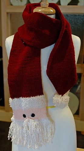 Knitted Santa Scarf Pattern By Christy Fisher Knit And Crochet